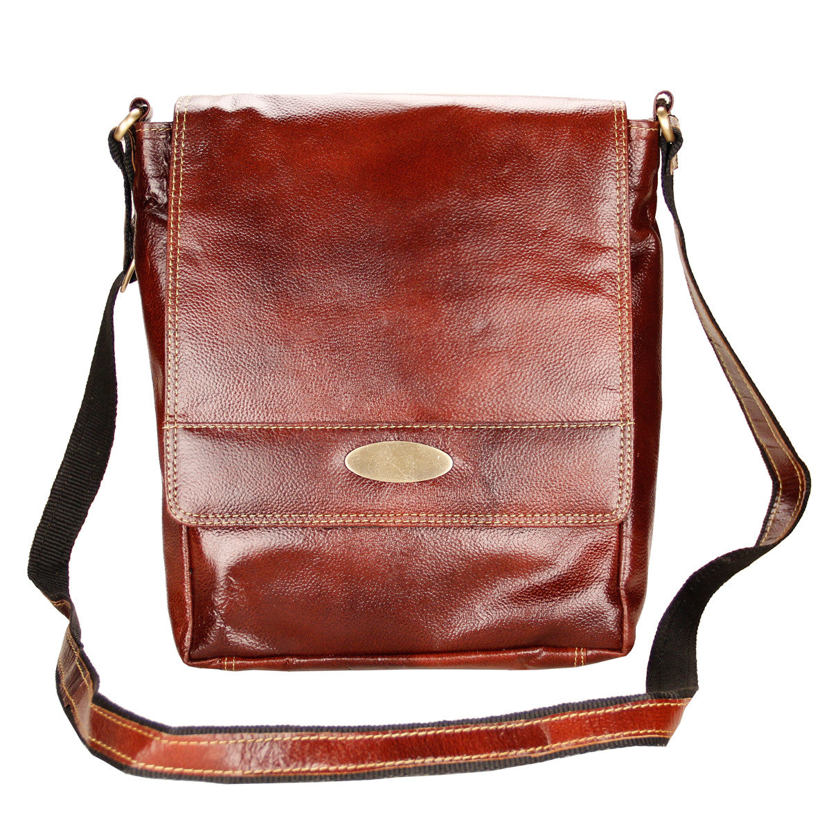 Goopash Men's Brown Leather Messenger Bag