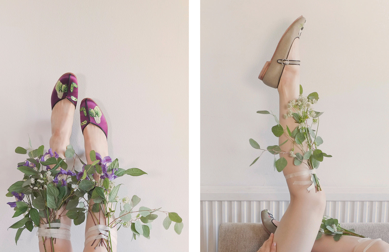 how to make a designer banner photo shooting model shoes flowers On Slowness
