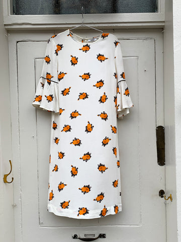 GANNI orange flowers dress sales outlet | ON SLOWNESS