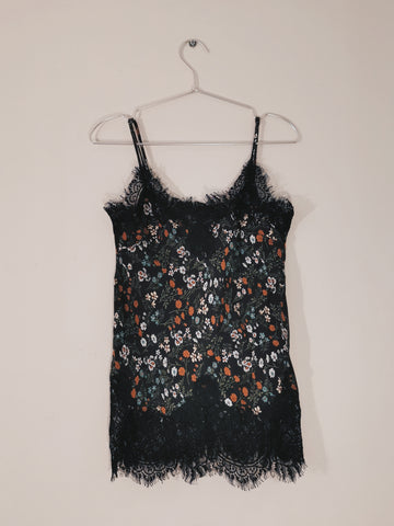 Gold Hawk floral silk cami top black