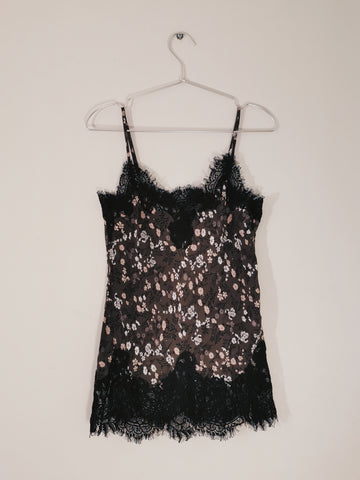 Gold Hawk floral silk cami top dark grey