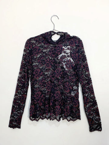 GANNI Flynn lace turtleneck top