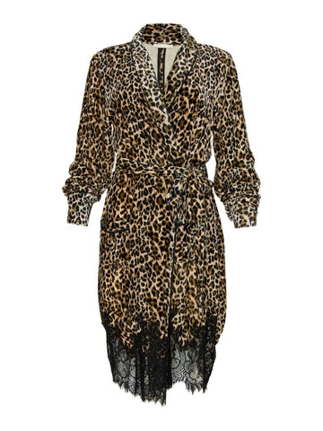Gold Hawk leopard velvet duster sample sale outlet | ON SLOWNESS