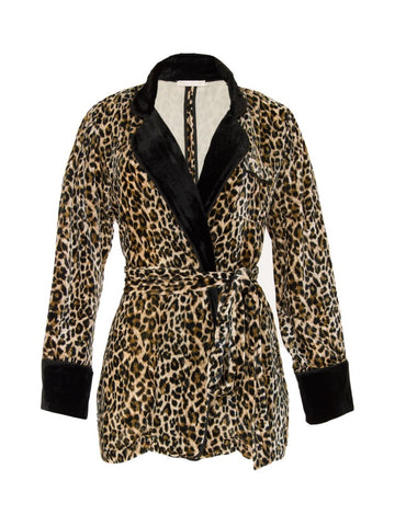 Gold Hawk leopard velvet robe blazer sample sale outlet | ON SLOWNESS