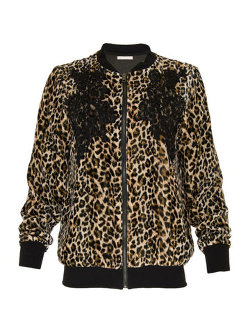 Gold Hawk leopard velvet bomber JACKET sample sale outlet | ON SLOWNESS