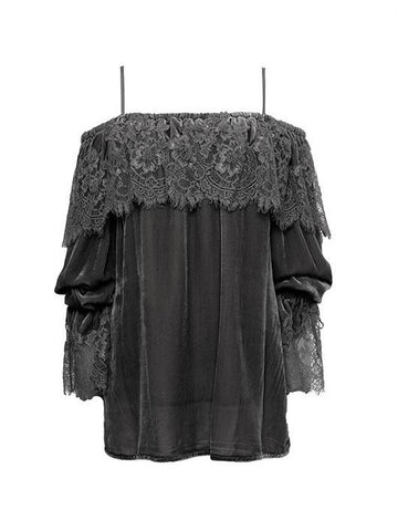 Gold Hawk lace velvet top sample sale outlet | ON SLOWNESS