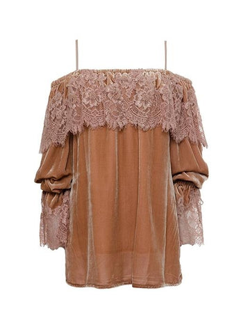 Gold Hawk lace velvet top vintage rose
