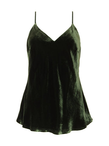 Gold Hawk velvet cami top green sample sale outlet | ON SLOWNESS