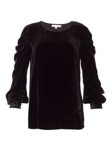 Gold Hawk Velvet ruched sleeve top black