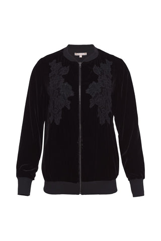 Gold Hawk velvet bomber jacket black