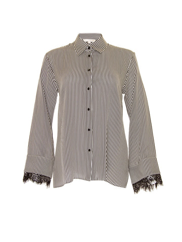 Gold Hawk Black White strips blouse