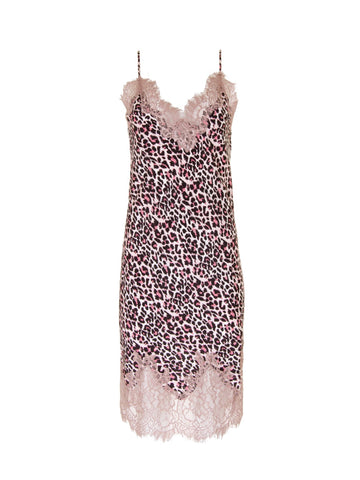 Gold Hawk pink leopard print slip dress
