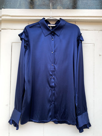 Gold Hawk Lydia silk top navy blue