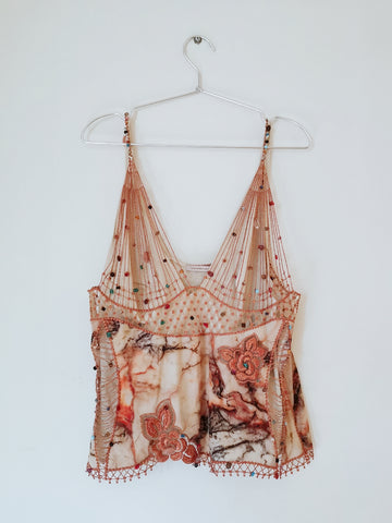 Christopher Kane beads embellished silk cami top (Pre-loved)