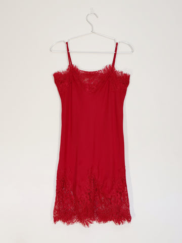 Gold Hawk slip dress bright red