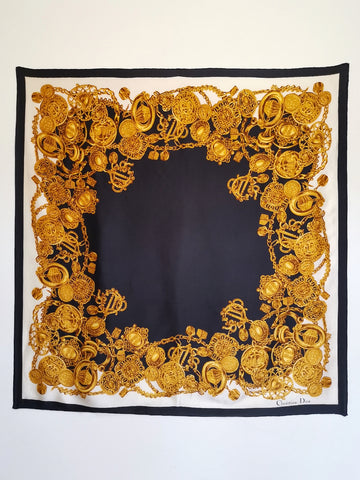 vintage Christian Dior golden silk scarf | on slowness