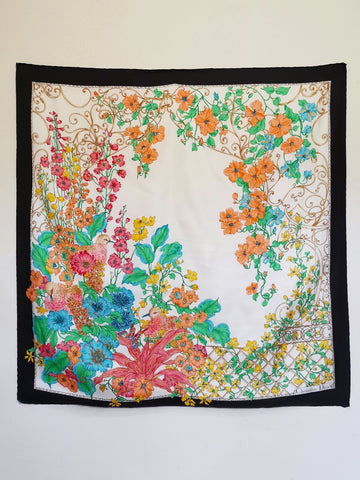 vintage Christian Dior floral silk scarf | on slowness