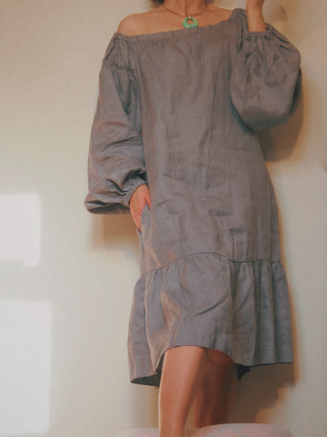 Gold Hawk linen puff sleeves dress grey