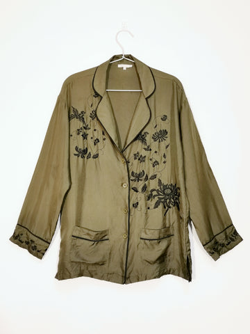 Gold Hawk Maya embroidery silk blouse vintage green