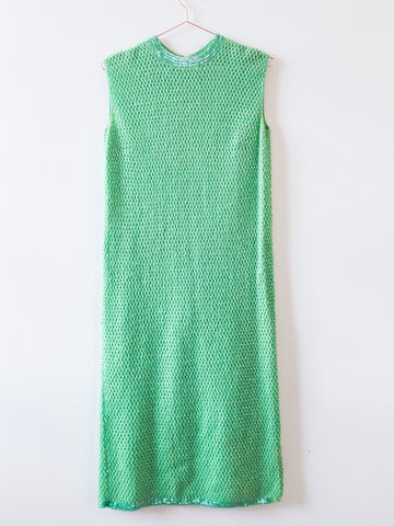 Jade green beads embellished dress vintage