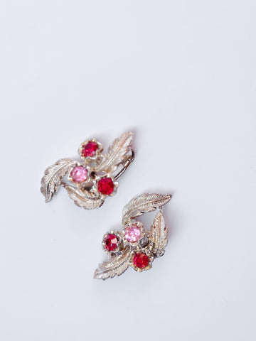 Silver leaves (Vintage Clip-on Earrings)