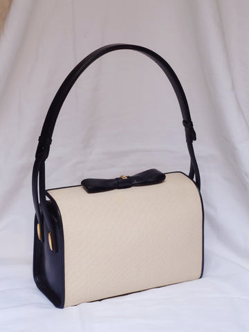 Bally raffia bow handbag (Vintage)