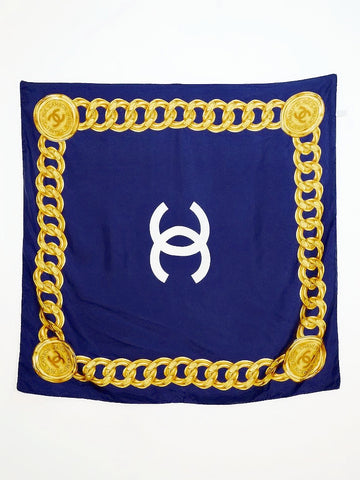 CHANEL navy silk scarf (vintage)