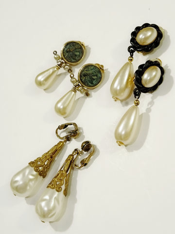 The pearl drops (Vintage Clip-on Earrings)