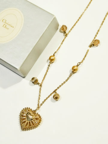 Christian Dior hollow out heart necklace (Vintage)