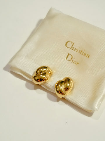 Christian Dior golden peas clip on earrings (vintage)