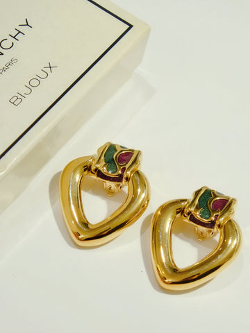 Givenchy enamel heart clip on earrings (vintage)