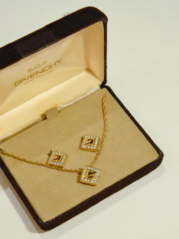 Givenchy rhinestones square necklace + earrings (Vintage)