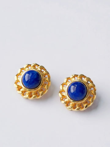 The gorgeous blue with golden chains (Vintage Clip-on Earrings)