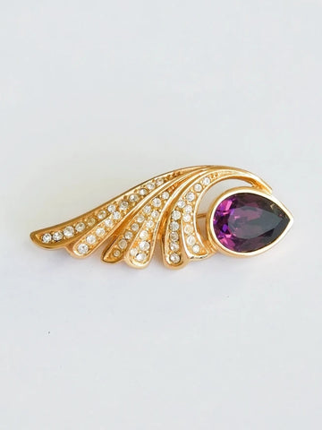 Christian Dior purple rhinestones feather brooch (vintage)