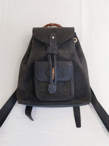 vintage Gucci backpack navy suede | ON SLOWNESS