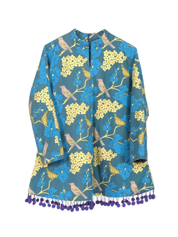 Suzhou Cobblers womens blue yellow bird prints oversized coat | On Slowness Fashion