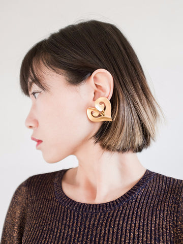 Golden Hearts (Vintage Clip-on Earrings)