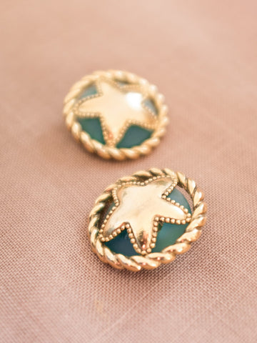 Golden Stars vintage clip-on earring womens jewellery | On Slowness