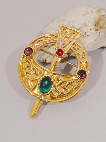 Celtic multi colour cabochon brooch (vintage)