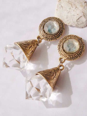 Statement Chandelier oversized runway clip on earrings (vintage)