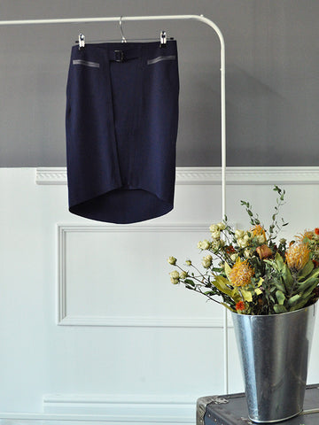 Navy Blue Layered Skirt by Marithé et François Girbaud | On Slowness