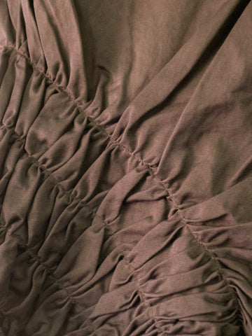 Brown Asymmetrical Skirt with Ruffles by Marithé et François Girbaud | On Slowness