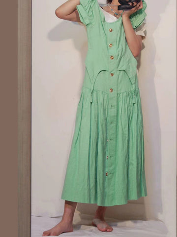 House of Sunny Rustic Cold Shoulder Dress garden green