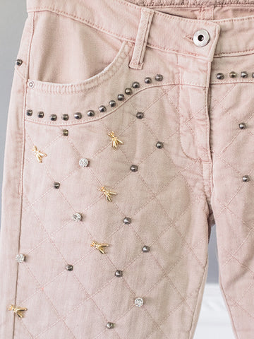 Delicate Rose Decorated Womens Jeans by Patrizia Pepe | On Slowness Noutlet