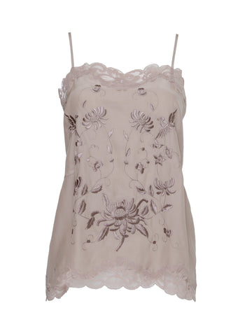 Gold Hawk embroidery silk cami top nude pink