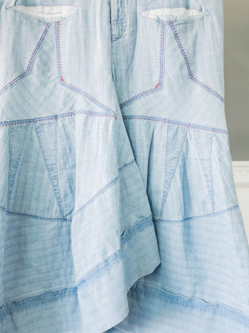 Starlette O' Hara Light Blue Skirt with Star Patterns by Marithé et François Girbaud | On Slowness
