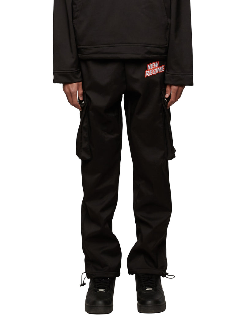 Fleece-Lined Logo Cargo Pants (Black)