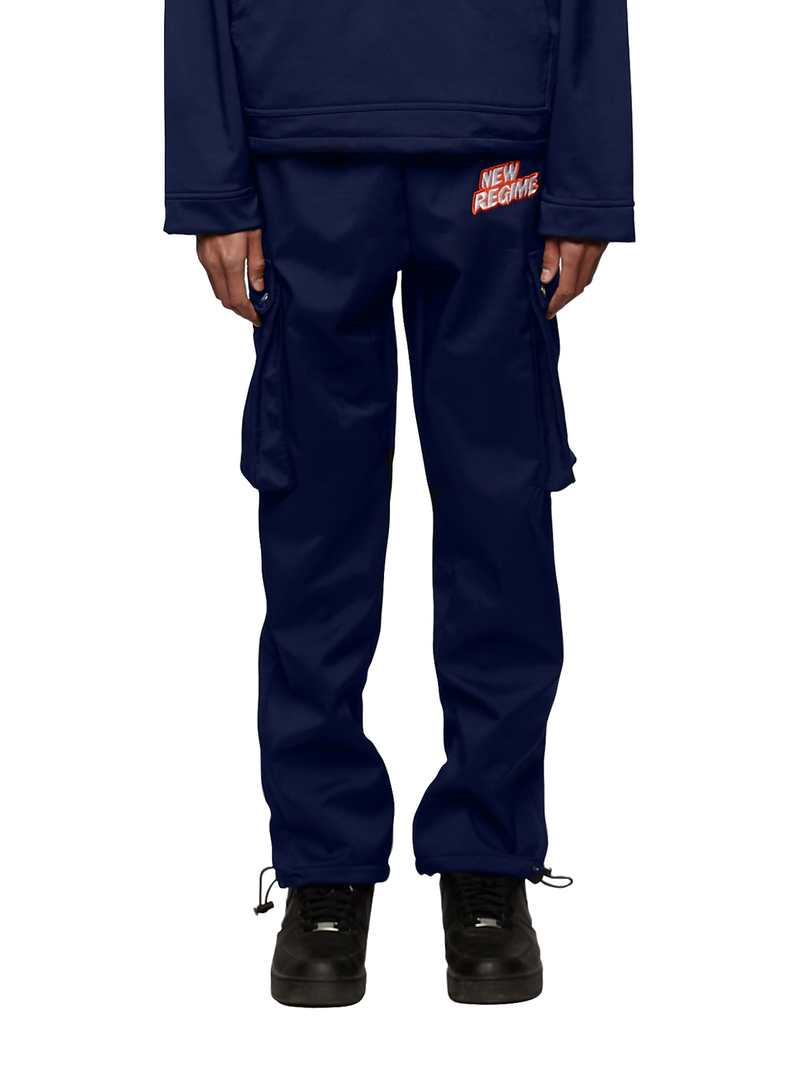 Fleece-Lined Logo Cargo Pants (Navy)
