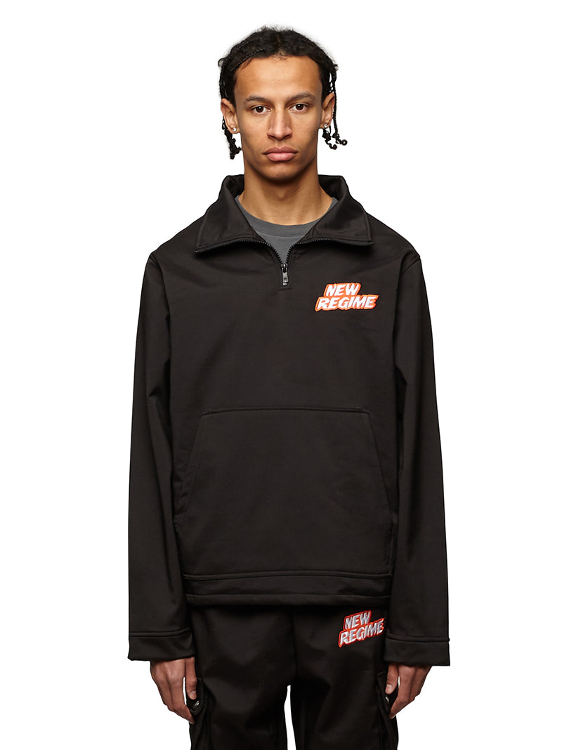 Fleece-Lined Logo Pullover (Black)