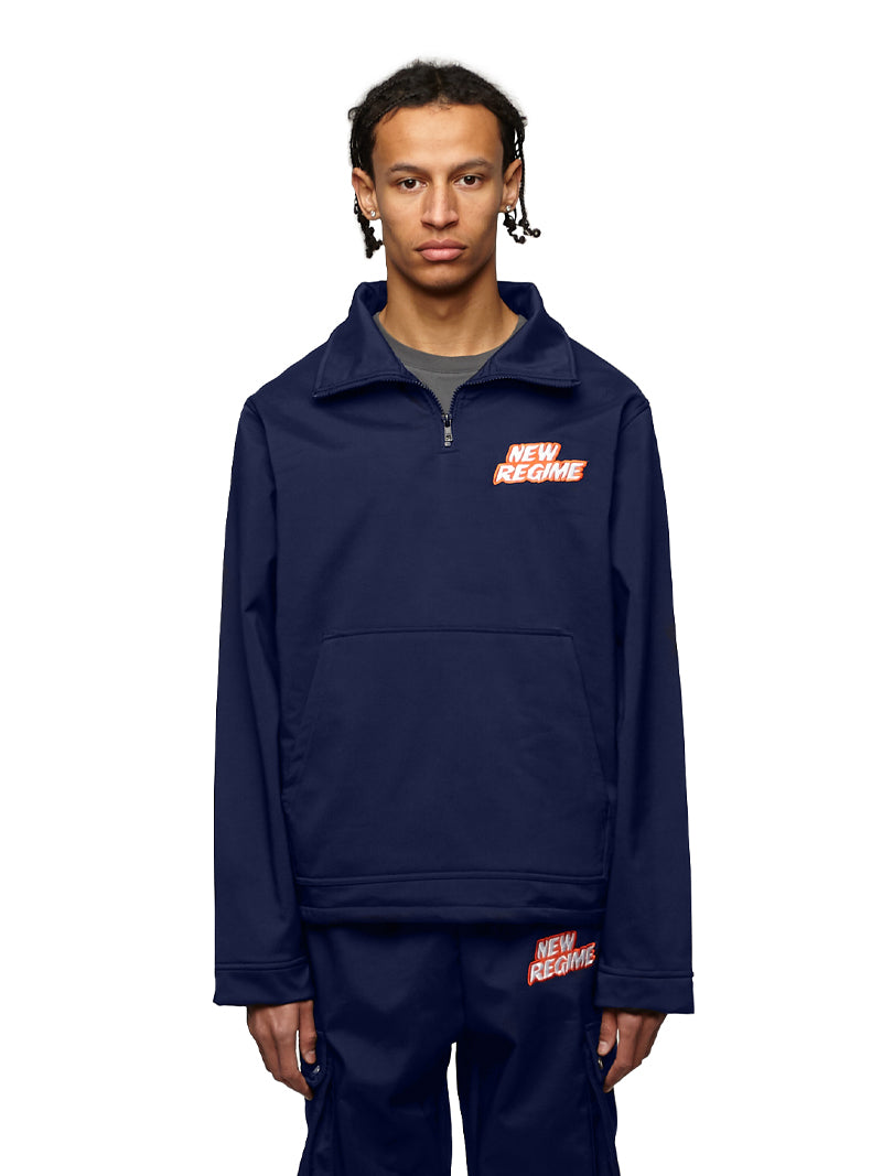 Fleece-Lined Logo Pullover (Navy)